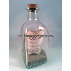 Botella de cristal con mensaje personalizado en su interior